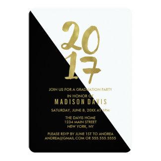 黒および金ゴールド色のブロック|の卒業パーティー 12.7 X 17.8 インビテーションカード