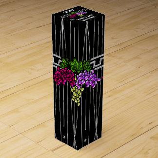 黒および銀のアールデコのブドウ(名前入りな) ワインギフトボックス