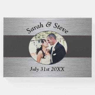 黒および銀のエレガントな結婚式の来客名簿 ゲストブック