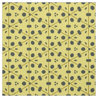黒および黄色の点そして三角形の生地 ファブリック