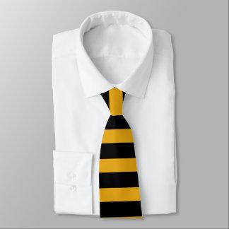 黒および黄色金ゴールドのラグビーストライプのなネクタイ カスタムネクタイ