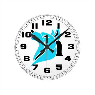 黒およびLt Blue Solid Wolf Head ラウンド壁時計