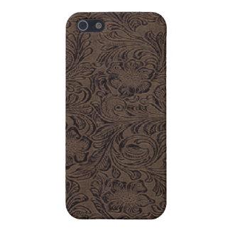 黒かブラウン用具のレザールックのプリントのiPhone 4 Speck iPhone SE/5/5sケース