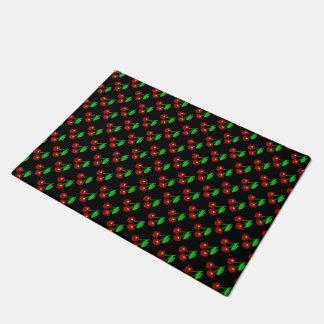 黒くおよび赤いさくらんぼパターン ドアマット