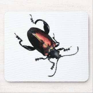 黒くおよび赤いカブトムシの虫 マウスパッド