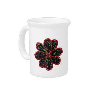 黒くおよび赤いグリッターの花の水差し ピッチャー