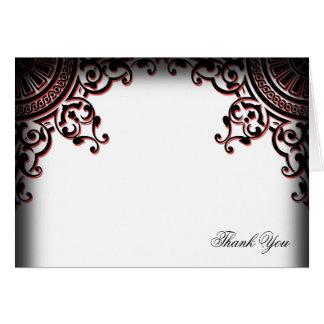 黒くおよび赤いゴシック様式スクロール結婚式は感謝していしています カード