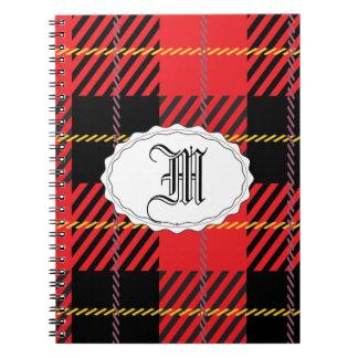 黒くおよび赤いタータンチェック ノートブック