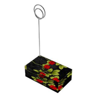 黒くおよび赤いバラの結婚式 テーブルカードホルダー