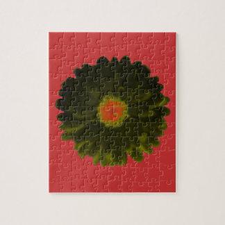 黒くおよび赤いマリーゴールドのパズル ジグソーパズル