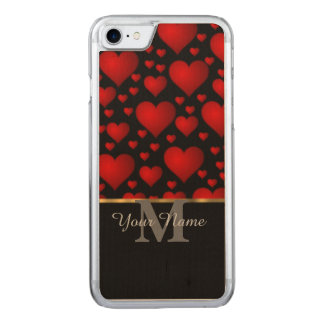 黒くおよび赤いモノグラム愛ハートパターン CARVED iPhone 7 ケース