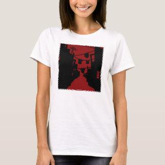 黒くおよび赤い最小主義の細道 Tシャツ