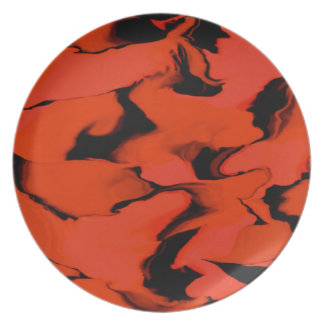 黒くおよび赤い相撲のデザインの波 プレート