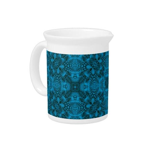 黒くおよび青のカラフルな磁器の水差し ピッチャー