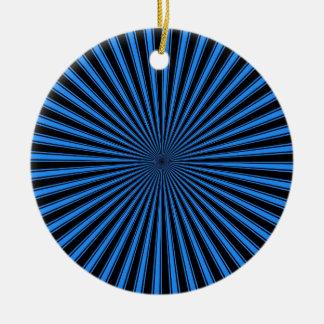 黒くおよび青のファンキーでストライプのな抽象美術 セラミックオーナメント
