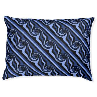 黒くおよび青のモダンの抽象芸術の渦巻の対角線 ペットベッド