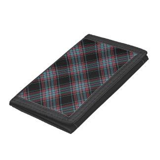 黒くおよび青のレトロのグランジな格子縞 ナイロン三つ折りウォレット