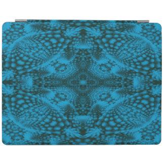 黒くおよび青の万華鏡のように千変万化するパターンの   iPadの頭が切れるなカバー iPadスマートカバー