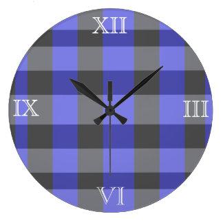 黒くおよび青の幽霊の格子縞の柱時計 ラージ壁時計