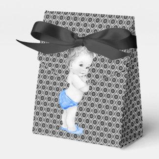黒くおよび青の王子ベビーシャワーの好意箱 フェイバーボックス