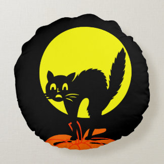 黒くおよび黄色のスカルのカボチャ猫ハロウィン ラウンドクッション