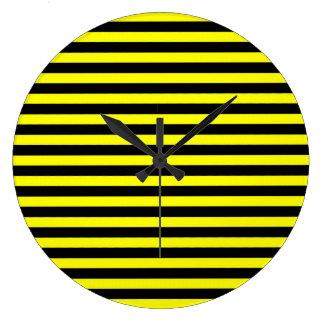 黒くおよび黄色のストライプのな時計 ラージ壁時計