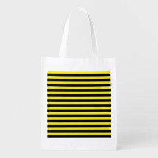 黒くおよび黄色のストライプの再使用可能な買い物袋 エコバッグ