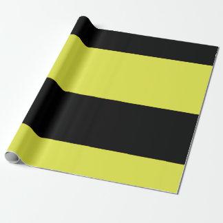 黒くおよび黄色のストライプ ラッピングペーパー