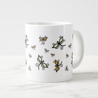 黒くおよび黄色のトンボのジャンボマグ ジャンボコーヒーマグカップ