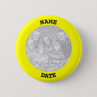 黒くおよび黄色の名前入りな円形の写真フレーム 5.7CM 丸型バッジ