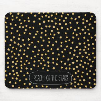 黒くおよび黄色の星 マウスパッド