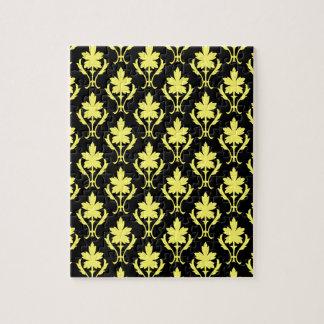 黒くおよび黄色の華美な壁紙パターン ジグソーパズル