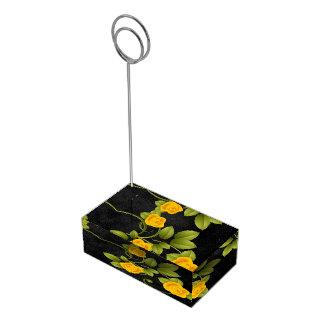 黒くおよび黄色バラの結婚式 テーブルカードホルダー