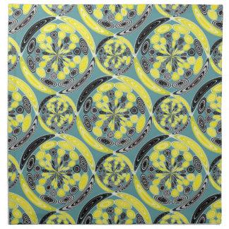 黒くおよび黄色パターン ナプキンクロス