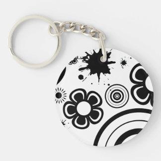 黒くお洒落な花、円、(ばちゃばちゃ)跳ねるパターン キーホルダー
