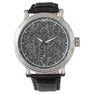 黒くか白いバイクパターン 腕時計