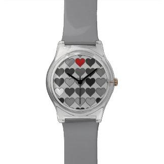 黒くか白い愛ハート 腕時計