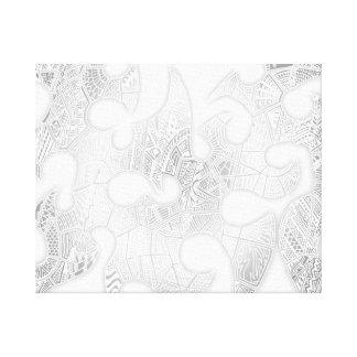 黒くか白い手描きの種族の熱狂するな落書き キャンバスプリント