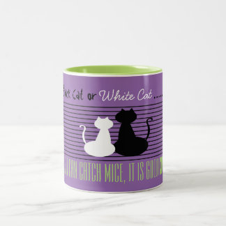 黒くか白い猫-よい猫、すみれ色の緑のマグ ツートーンマグカップ