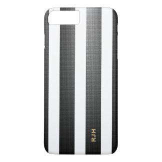 黒くか白い縦ストライプは、モノグラムを加えます iPhone 8 PLUS/7 PLUSケース