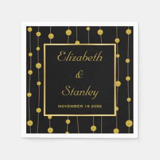 黒くして下さい、金ゴールドホイルおよびフレームのモダンな結婚式は玉が付きます スタンダードカクテルナプキン