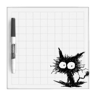 黒くだらしない子ネコの格子図形 ホワイトボード