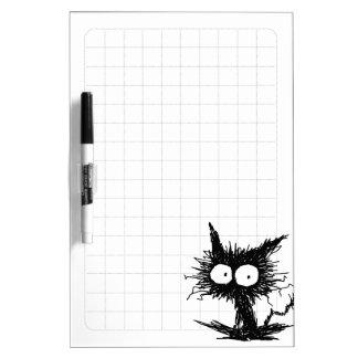 黒くだらしない子ネコの格子 ホワイトボード