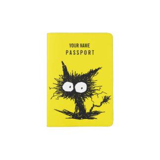 黒くだらしない子ネコの黄色 パスポートカバー
