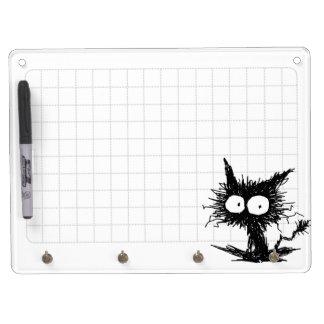 黒くだらしない子ネコのGabiGabiの格子白 キーホルダーフック付きホワイトボード