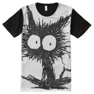 黒くだらしない子ネコGabiGabi オールオーバープリントT シャツ