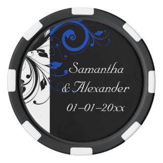 黒くまたは白またはコバルトブルーのはっきりしたな渦巻の結婚式 ポーカーチップ