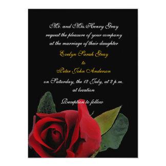 黒くエキゾチックな結婚式の赤いバラ カード