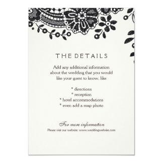 黒くエレガントなヴィンテージのレースの結婚式の明細カード カード