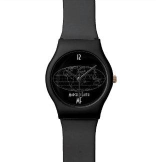 黒くエレガントな世界地図 腕時計